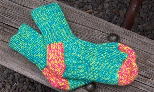 Bear Toes Free Knitting Patterns Tropical Punch Slipper Socks